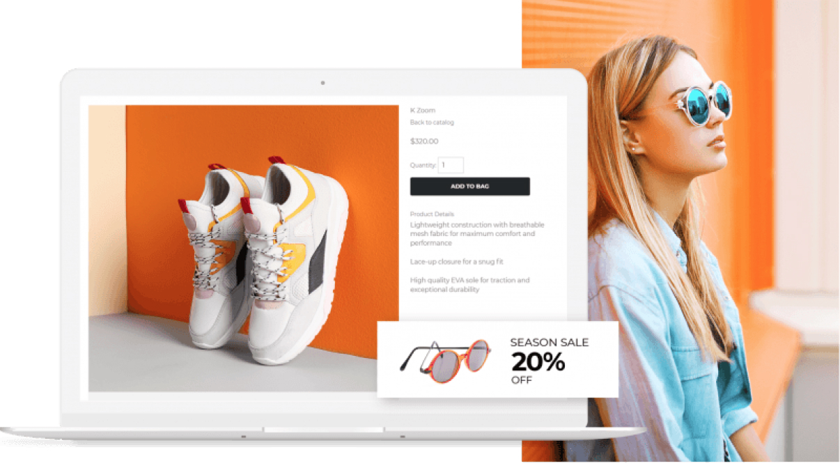 Image of an online store on a laptop displaying a pair of shoes for sale with an image of a woman wearing glasses behind the laptop