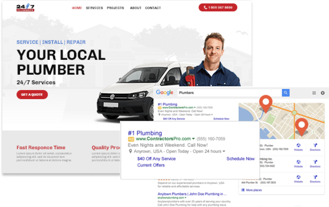 Image of a plumbing website with a plumber and work van, local listings in a Google search result, and a plumbing PPC text ad with callouts