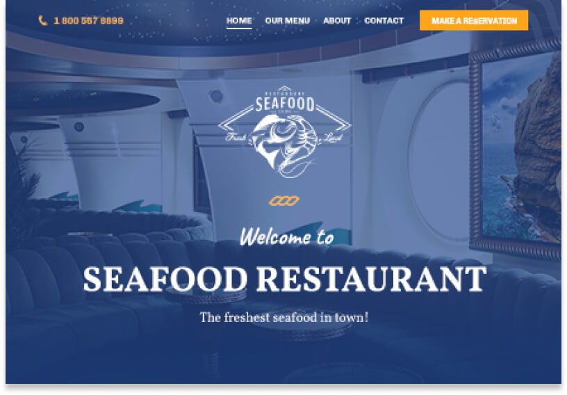 Website template with a picture of a seafood restaurant in the background with a blue overlay