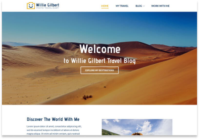 Website template showing the homepage of a blog with a welcome banner