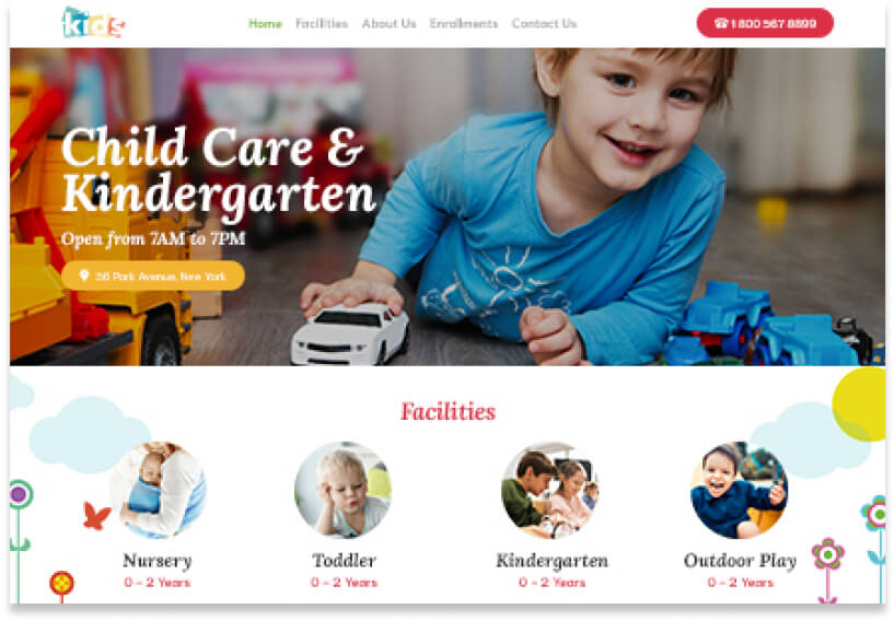 Website template for a child care website with image of a boy playing with a toy truck in the header with icons below