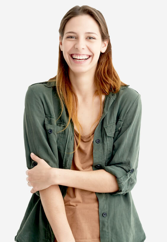 A female entrepreneur wearing a olive button down and a tan shirt